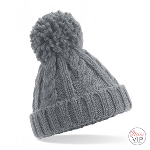 Grey Cable Knit Melange Beanie Hat - Infants, Junior & Adult sizes