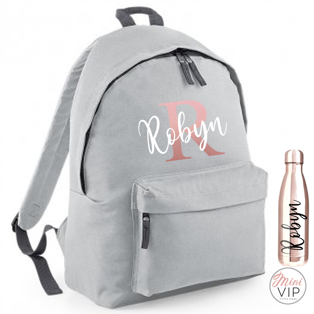 Personalised School Rose Gold Letter Script Bag - other back pack colour options