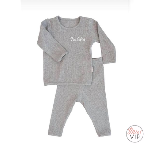 Embroidered Grey Ribbed Loungewear