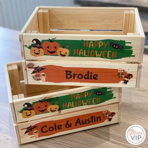 Personalised Halloween Wooden Crate - perfect for Tricks & Treats!