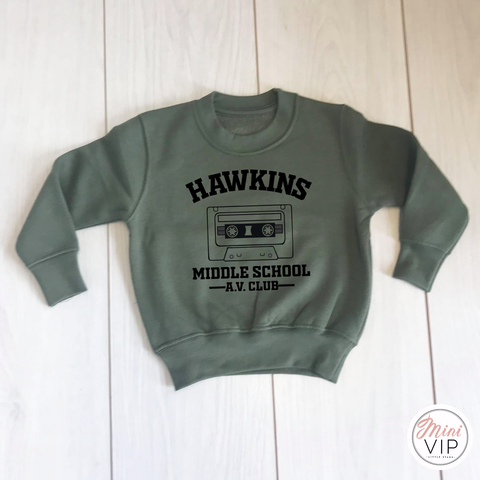 Hawkins Middle School AV Club - Khaki Sweatshirt