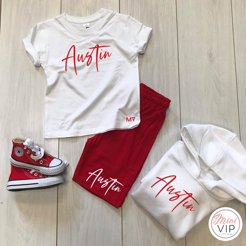 Image of Stylistic Name - Red Shorts & White T-Shirt Summer Set