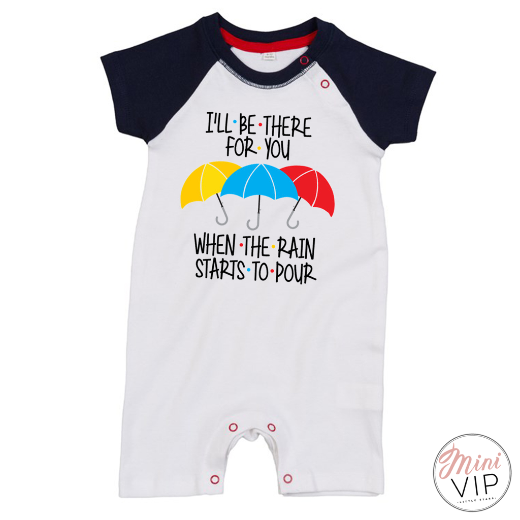 I'll Be There For You - Navy/White Baseball Romper Suit