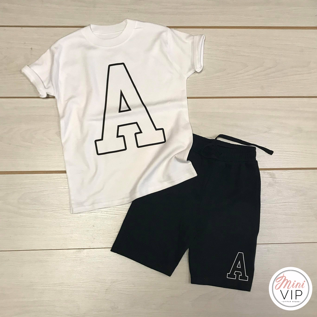 Collegiate Initial - Black Shorts & White T-Shirt Set