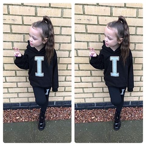 Personalised Black Initial Outfit Isla Lounge Set