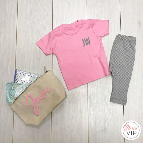 Personalised Initials Striped Leggings Lounge Set - grey/white/pink