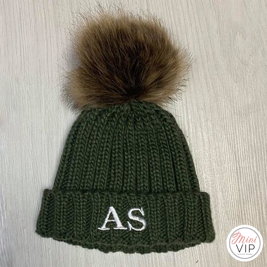 Khaki Embroidered Cable Knit Beanie Hat - Infants, Junior & Adult sizes