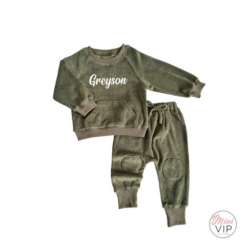 Personalised Khaki Green Towelling Lounge Set