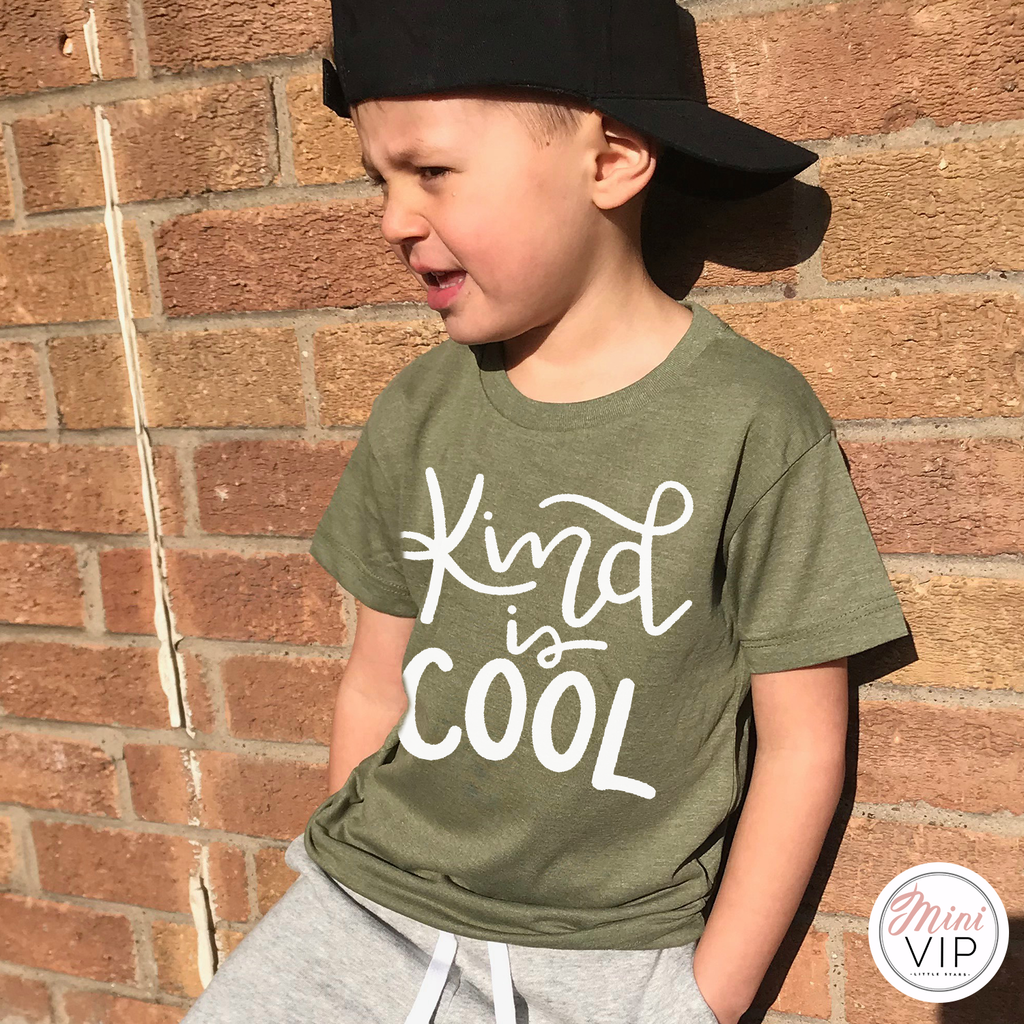 Kind is Cool khaki t-shirt