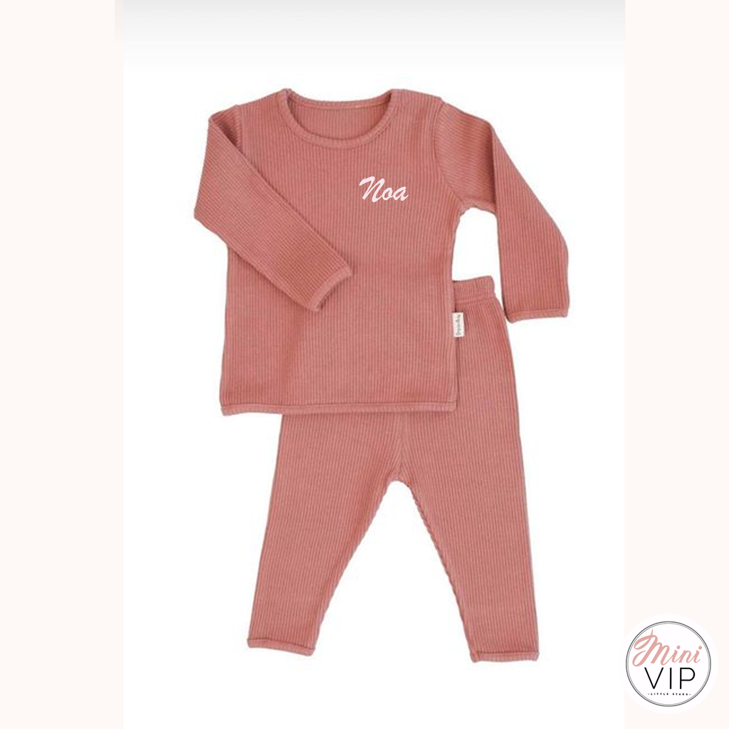 Embroidered Leather Pink Ribbed Loungewear