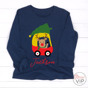 Personalised Reindeer driving a Coupe with Christmas Tree Navy Long Sleeve T-Shirt