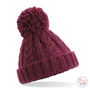 Maroon Cable Knit Melange Beanie Hat - Infants, Junior & Adult sizes