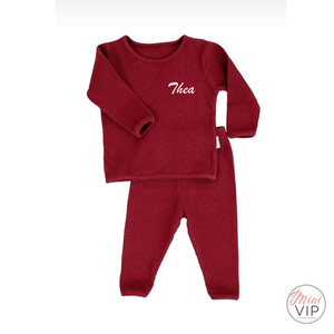 Embroidered Claret Red Ribbed Loungewear