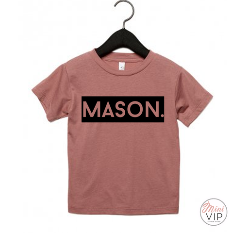 Image of Personalised Block Name Mauve T-Shirt
