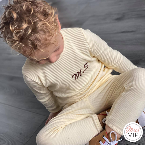 Embroidered Cream Ribbed Loungewear