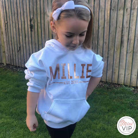 Personalised Est. White Hoodie - Rose Gold