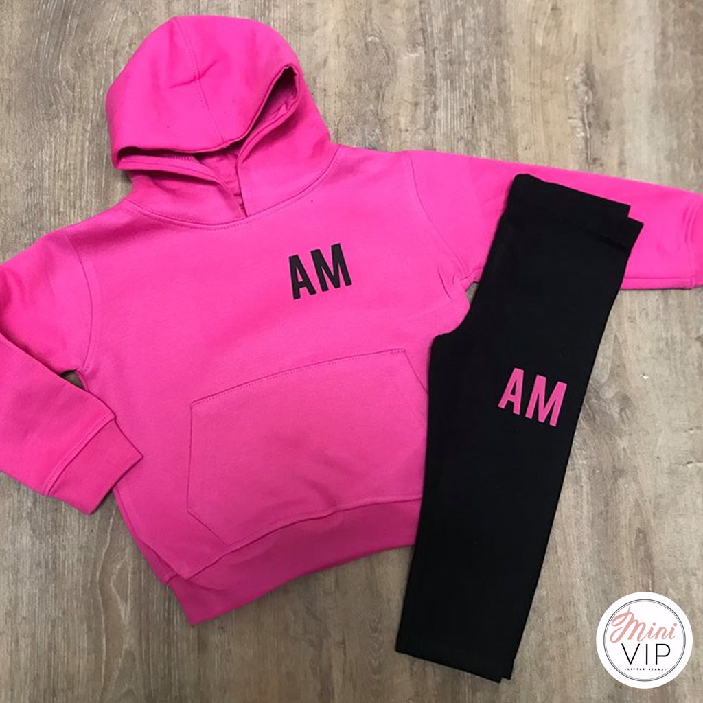 Personalised Black/Pink Initials Outfit Millie Lounge Set
