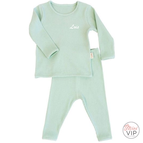 Image of Embroidered Mint Ribbed Loungewear