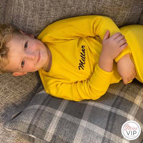 Image of Embroidered Mustard Ribbed Loungewear