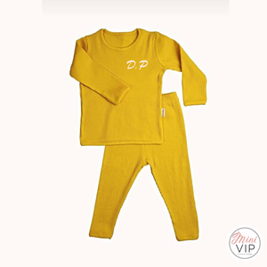 Embroidered Mustard Ribbed Loungewear