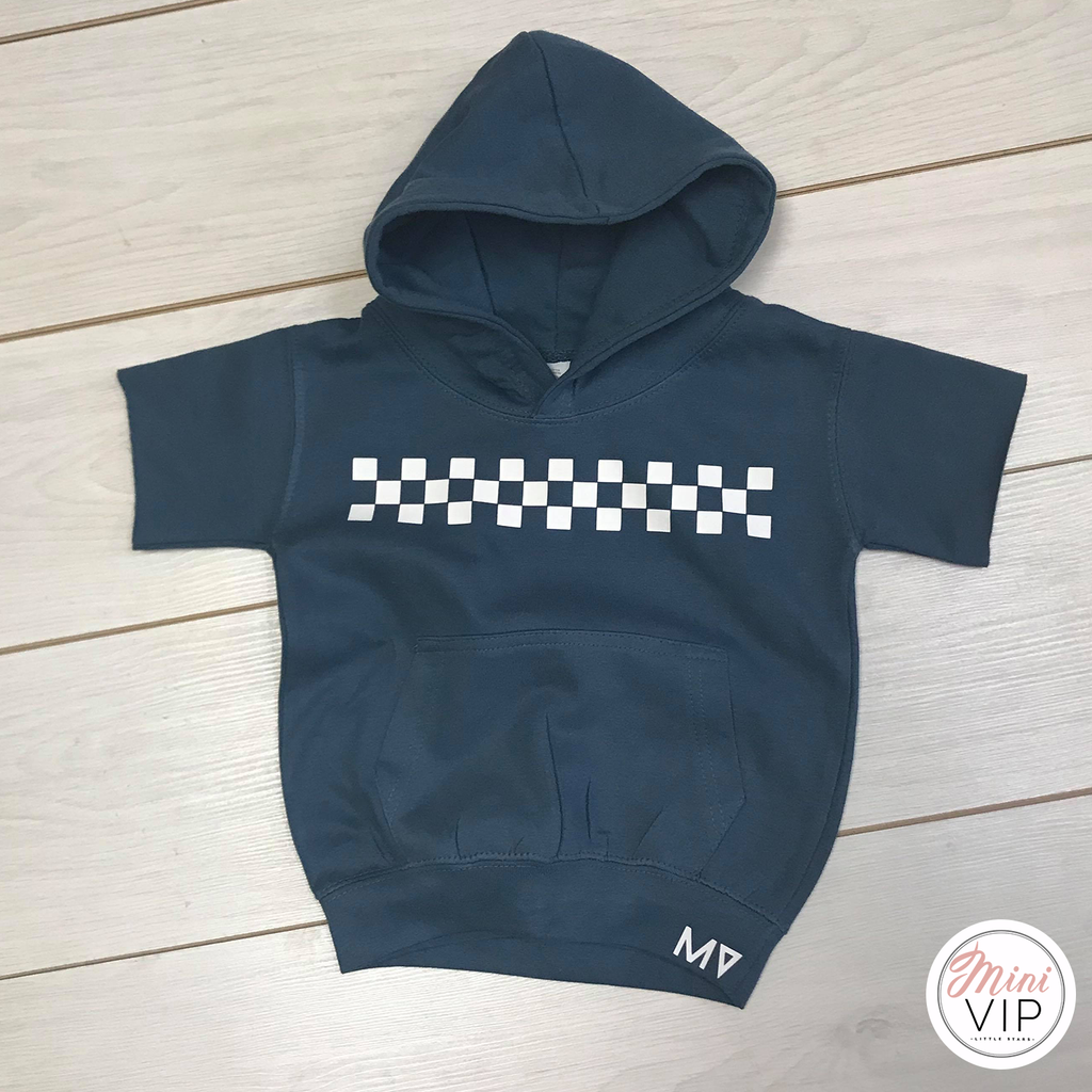 MV checkered Short Sleeve Airforce Blue Hoodie