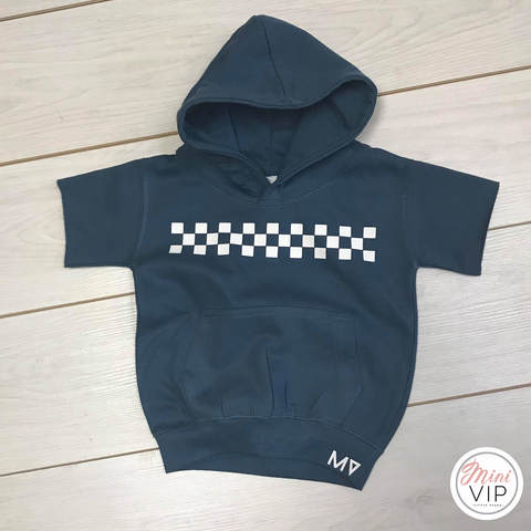 Image of MV checkered Short Sleeve Airforce Blue Hoodie