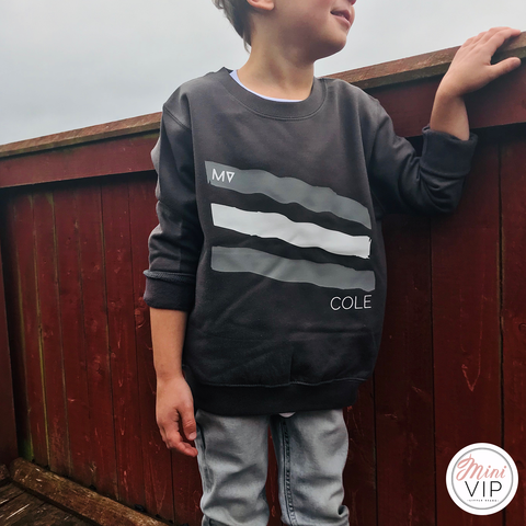 MV Paint Strips Personalised Charocal Grey Sweatshirt