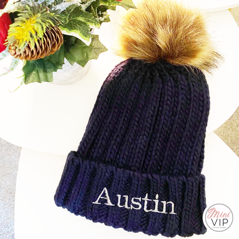 Navy Embroidered Knit Pom Pom Beanie Hat - Infants, Junior & Adult sizes