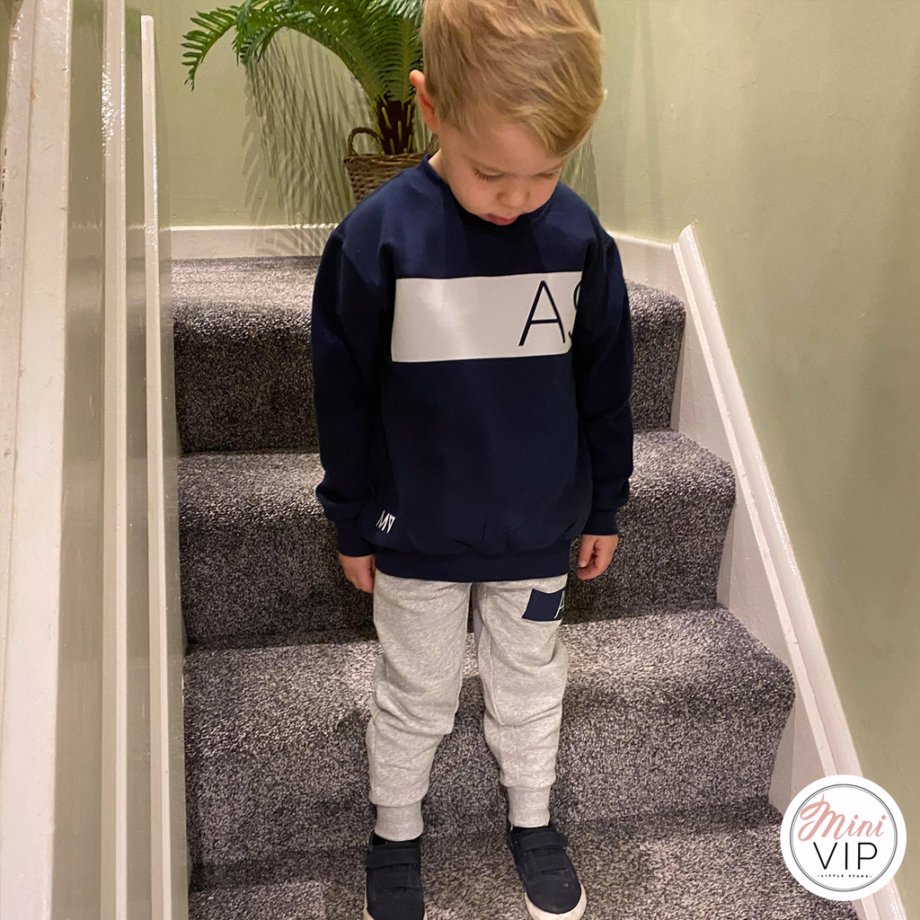 Navy/Grey Block Initials Personalised Tracksuit Lounge Set