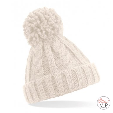 Oatmeal Cable Knit Melange Beanie Hat - Infants, Junior & Adult sizes