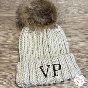 Oatmeal Embroidered Faux Fur Pom Pom Beanie Hat - Infants, Junior & Adult sizes