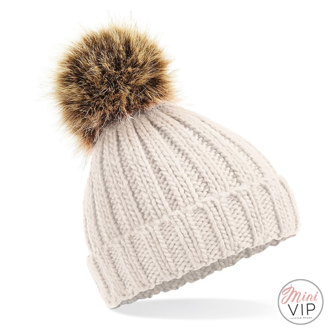 Image of Pom Pom Chunky Beanie Hat - Infants, Junior & Adult sizes