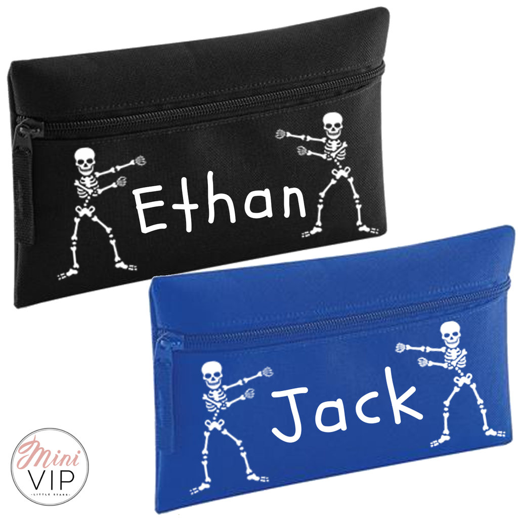 Personalised Flossin' Skeleton Pencil Case - choice of 2 colours.