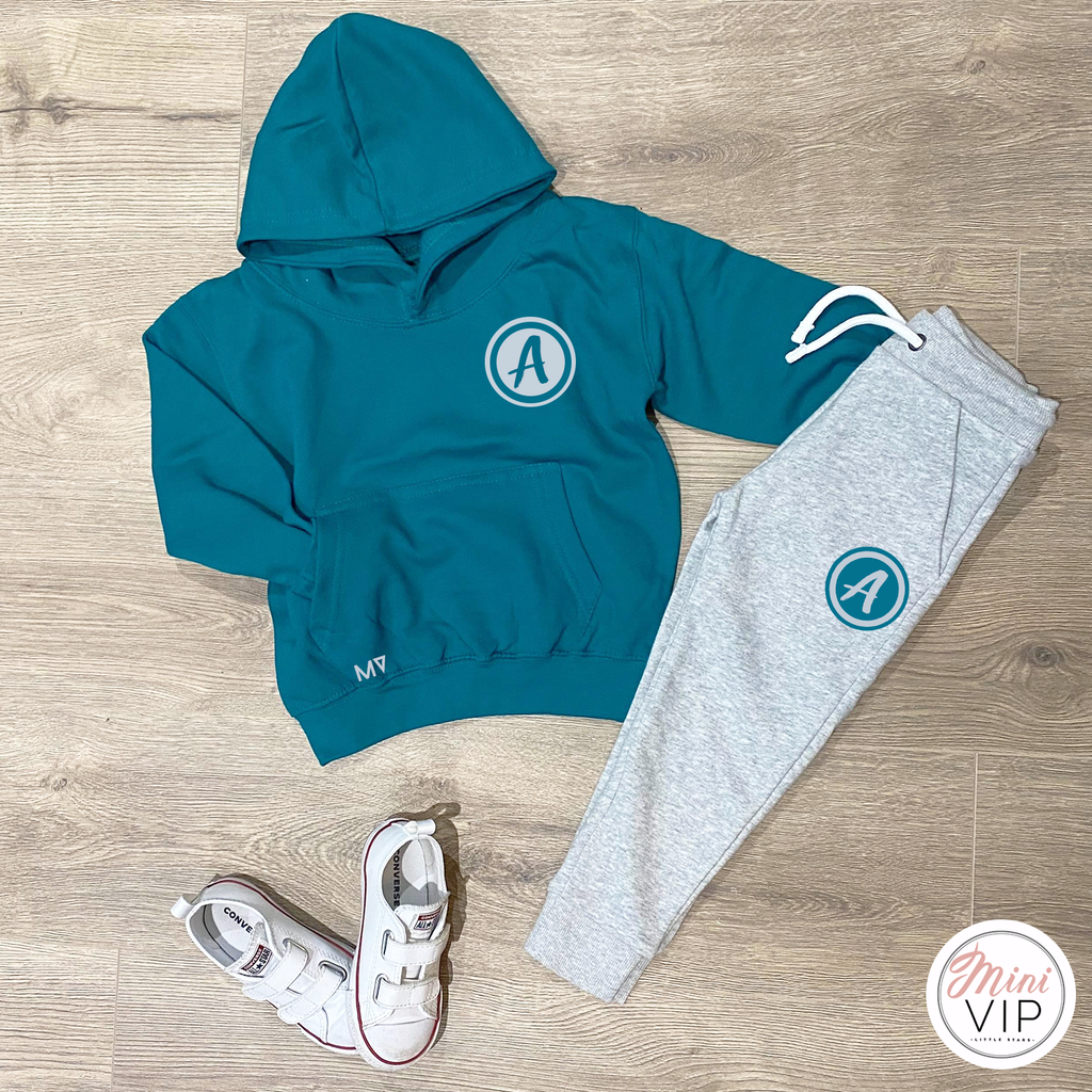 Personalised Initial Grey/Teal Tracksuit Lounge Set