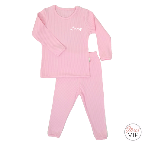 Embroidered Baby Pink Ribbed Loungewear