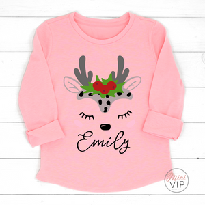 Personalised Baby Reindeer Light Pink Long Sleeve T-Shirt