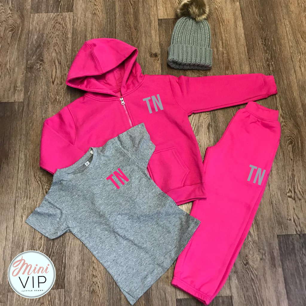 Personalised Initials Pink/Grey Tracksuit Lounge Set