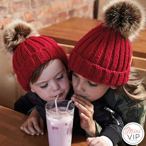 Pom Pom Chunky Beanie Hat - Infants, Junior & Adult sizes