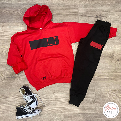 Personalised Red/Black Tracksuit Lounge Set