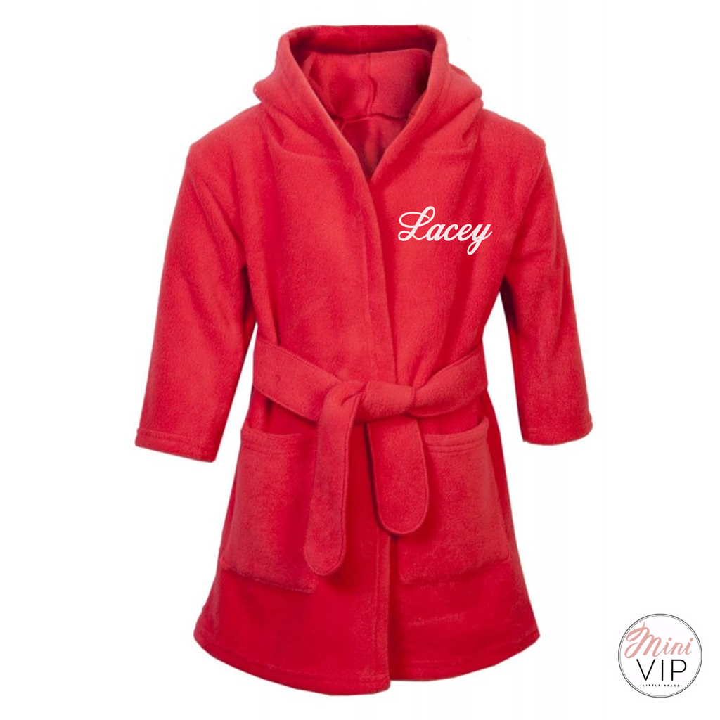 Red Personalised Fluffy Dressing Gown 6 months - 6 years