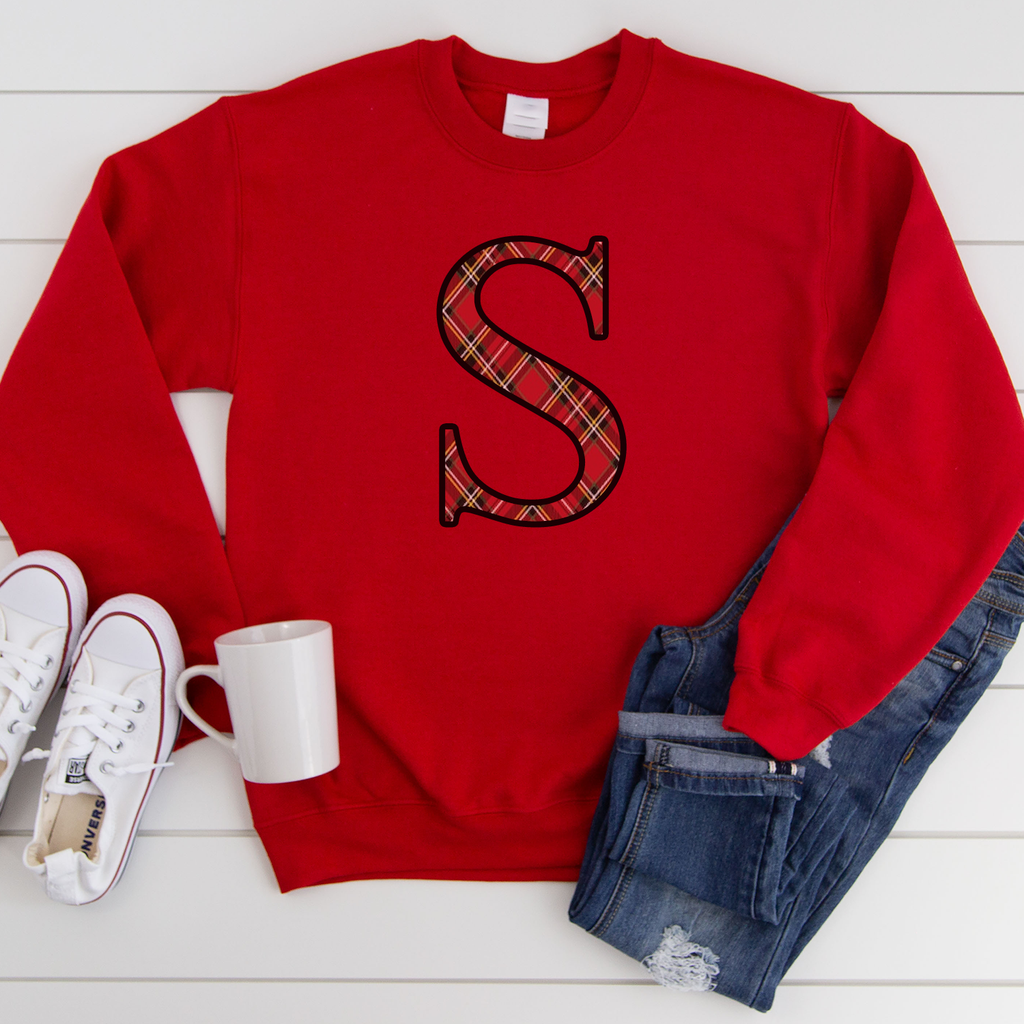 Red Personalised Initial Festive Sweatshirt