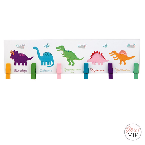 Dinosaur Wooden Artwork Display Peg Board for kids Bedroom / Playroom