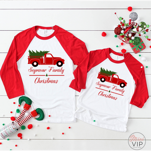 Personalised Family Christmas Red/White Raglan T-Shirt