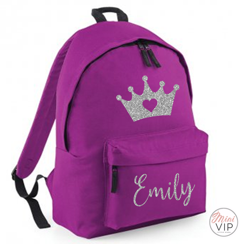 Image of Personalised Silver Glitter Crown Bag - other back pack colour options