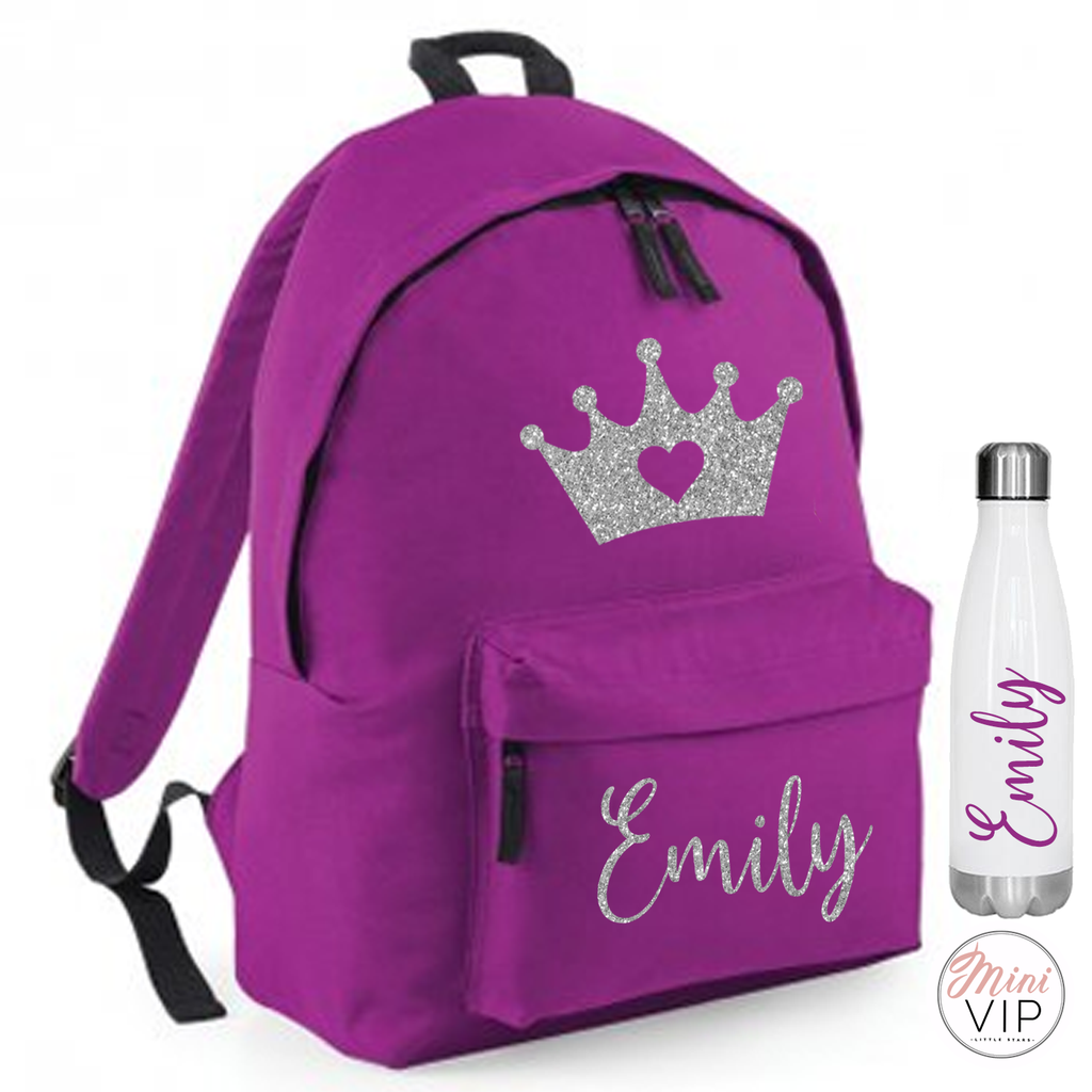 Personalised Silver Glitter Crown Bag - other back pack colour options