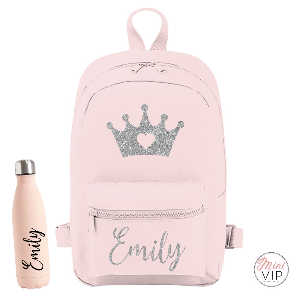 Personalised Glitter Crown Mini Back Pack - other bag colour options