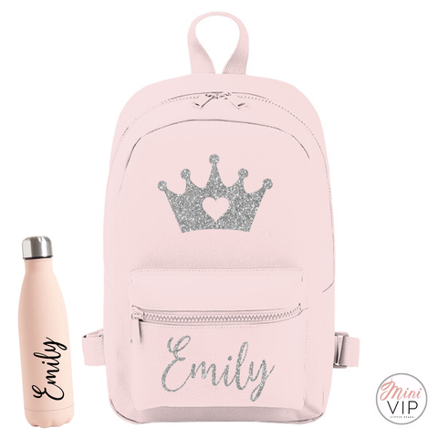 Image of Personalised Glitter Crown Mini Back Pack - other bag colour options