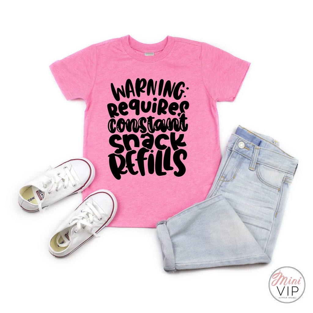 Warning Requires Constant Snack Refills Pink t-shirt