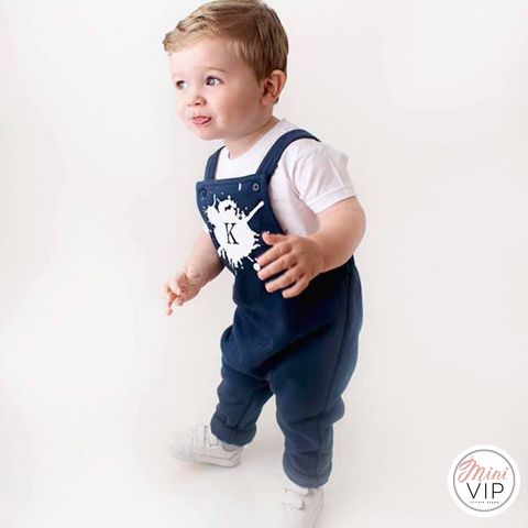 Image of Paint Splat Initial Navy Dungarees