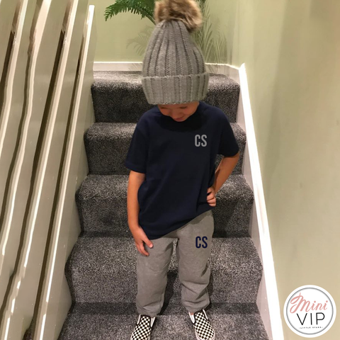 Personalised Navy/Grey Tracksuit Lounge Set